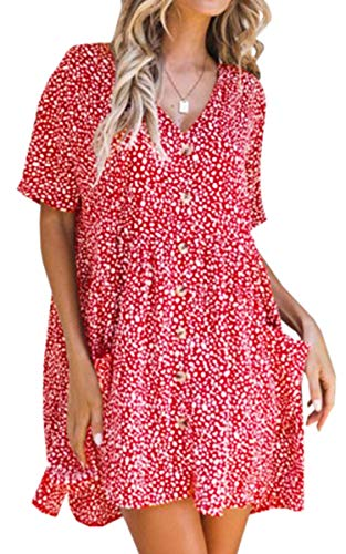 ECOWISH Women's V Neck Button Down Leopard Floral Dress Short Sleeves Loose Top Dresses with Pockets Red XL