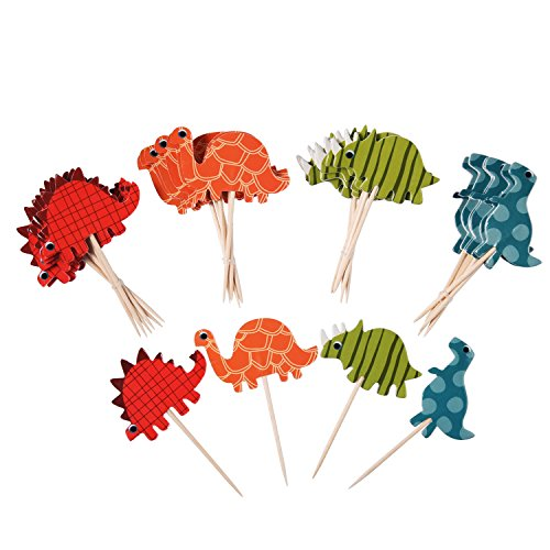 Easy Halloween Cupcake Decorations For Kids (eBoot 72 Pieces Cake Toppers Cupcake Picks Dinosaur Cupcake Toppers Dinosaur Food Toppers Fruit Toppers for Decoration)
