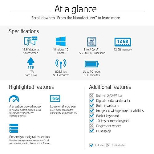 HP Pavilion 15-inch Laptop, Intel Core i5-7300HQ, NVIDIA GeForce GTX 1050, 12GB RAM, 1TB hard drive, Windows 10 (15-bc220nr, Silver) by HP (Image #4)
