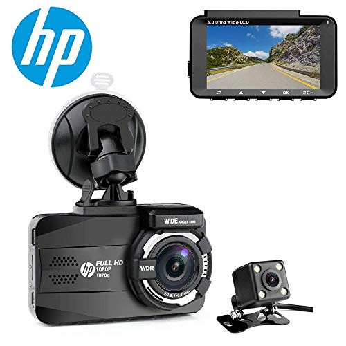 HP Dual Dash Cam for Cars Full HD 1080P Front & Rear Dashboard Camera Recorder Built-in GPS with Sony Sensor, Super Night Vision, 155 Wide Angle Lens, WDR, Loop Recording, ()