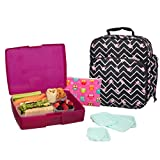 Bentology Lunch Bag and Box Set for Girls - Includes Insulated Bag with Handle, Bento Box, 5 Containers and Pink Owl Ice Pack - Flamingo