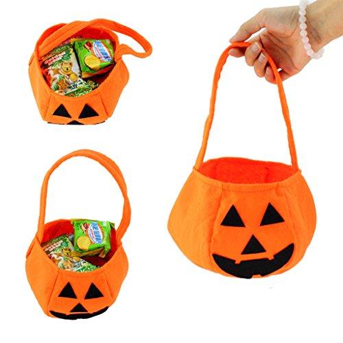 SupremeLife Kids Pumpkin Bag, Halloween Candy Trick or Treat Bags, Non-woven Fabrics Handbag Party Props Costumes Tools