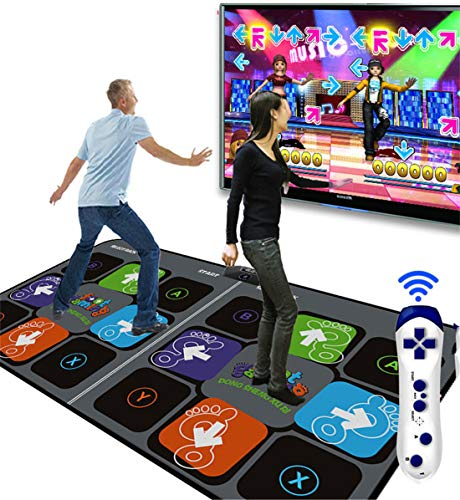 Skiout Double Dance Mats with Gamepad Dancing Blanket Dance Music Mixer Electronic Musical Play Mat for Adults/Children Tv Computer