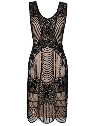 Kayamiya Women's Retro 20s Beaded Art Deco Inspired Gatsby Flapper Dress XXL Black Beige
