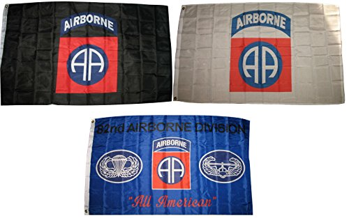 3x5 3'x5' Wholesale Lot Set 82nd Airborne Black & White & Blue 3 Flags Flag Banner Brass Grommets House Banner Brass Grommets Fade Resistant Double Stitched Premium - Airborne Flag