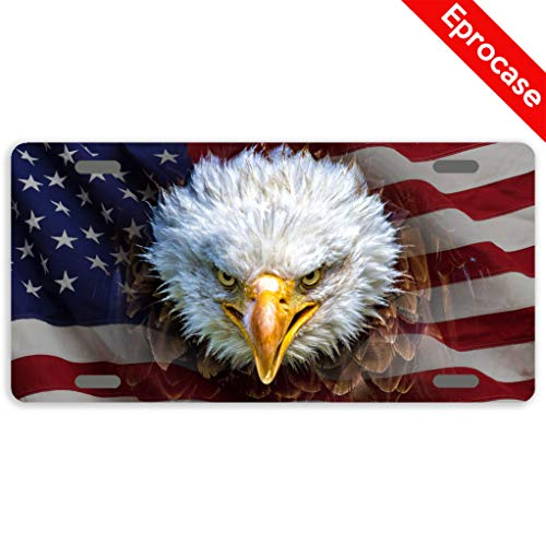 Eprocase License Plate America Flag Bald Eagle License Plate Cover Decorative Car Tag Sign Metal Auto Tag Novelty Front License Plate 2 Holes (11.8