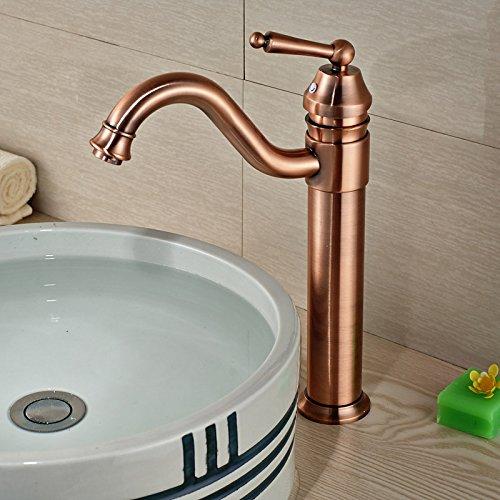 5151buyworld Top Qualität Wasserhahn Luxus Deck montieren langer Auslauf Badezimmer Küche Wasserhahn Hebel mit heißem kaltem Wasser Antik Bronze finishfor Badezimmer Küche Home Gaden (begriffsklärung), A,