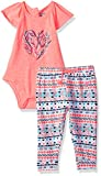 Limited Too Baby Girls 2 Piece Fashion Bodysuits and Pant Set, Boho Feathers Multi Color, 24M