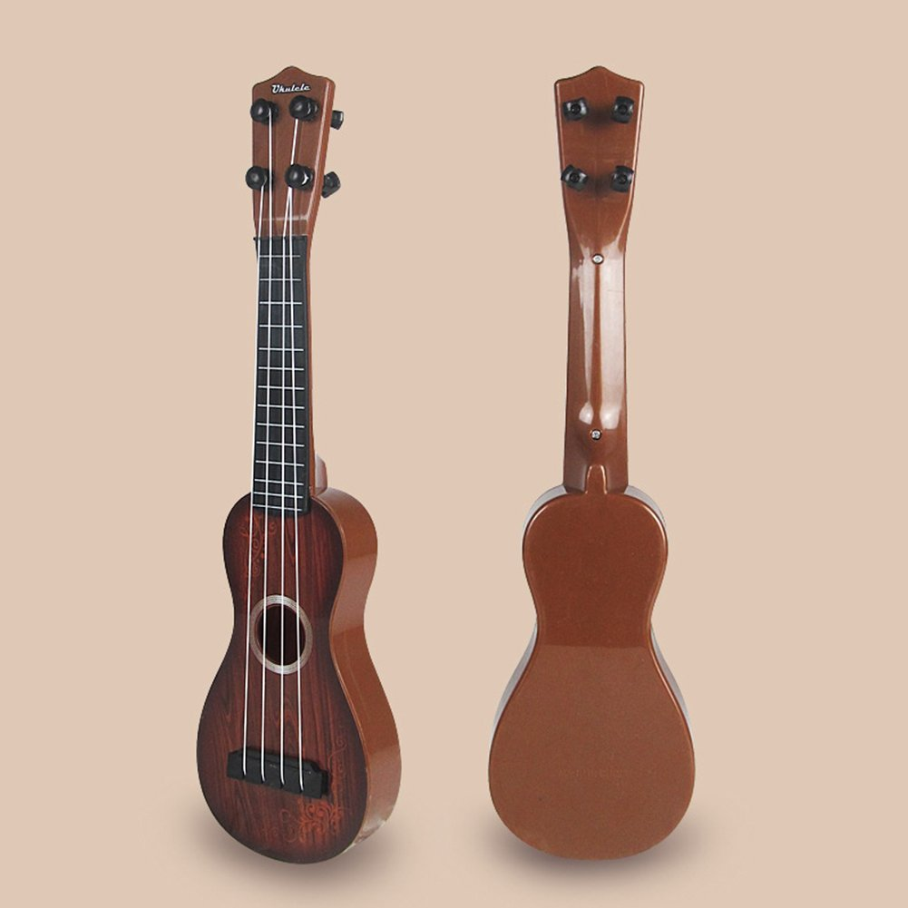 AKDSteel 4 Strings Kid's Plastic Musical Mini Ukulele Small Educational Hand Guitar Toys for Child Color Box Double arc Brown Quality Gifts by AKDSteel