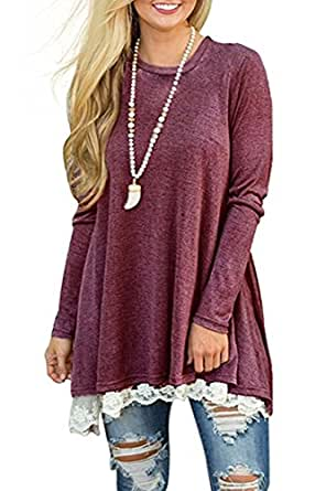 Womens Fall Winter Swing Casual A Line Dress Long Sleeve Lace Tunic T-Shirt Dress (Wine Red, XXL)