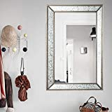 Large Rectangle Antique Decorative Accent Wall Mounted Mirror in Rectangular Shapes Angled Beveled Mirror Frame Accents Living Room Bedroom Vanity Bathroom Hangs Horizontal Vertical (Bead Edge)