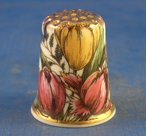 Porcelain China Collectable Thimble -- Vintage Floral Tulips with Free Gift Box