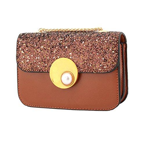 Bag Gabrine Bag Purse 00400 Womens Clutch Evening Party for Brown Handbag Shoulder Wedding Sequin Crossbody Dailywear xgRUgS