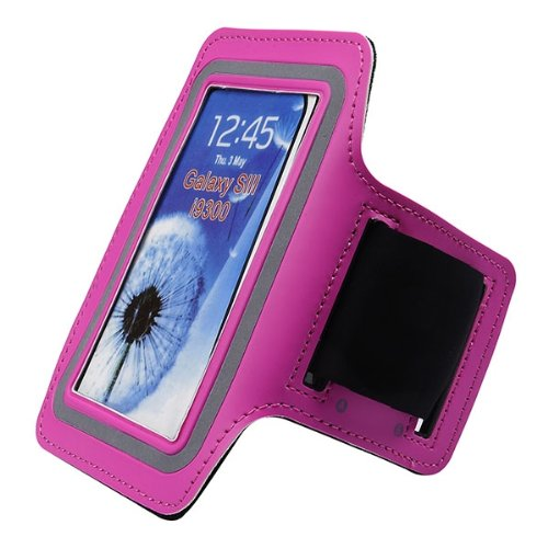 For Samsung Galaxy S Iii S3 I9300 Hot Pink Athletic Sport Neoprene Armband Protector -