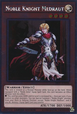 Yu-Gi-Oh! - Noble Knight Medraut (NKRT-EN006) - Noble Knights of the Round Table - 1st Edition - Platinum Rare