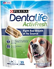 Purina DentaLife Small/Medium Breed Dog Dental Chews, ActivFresh Daily Oral Care Small/Medium Chews - 35 ct. Pouch