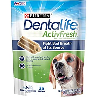 Purina DentaLife Small/Medium Breed Dog Dental Chews, ActivFresh Daily Oral Care Small/Medium Chews - 35 ct. Pouch