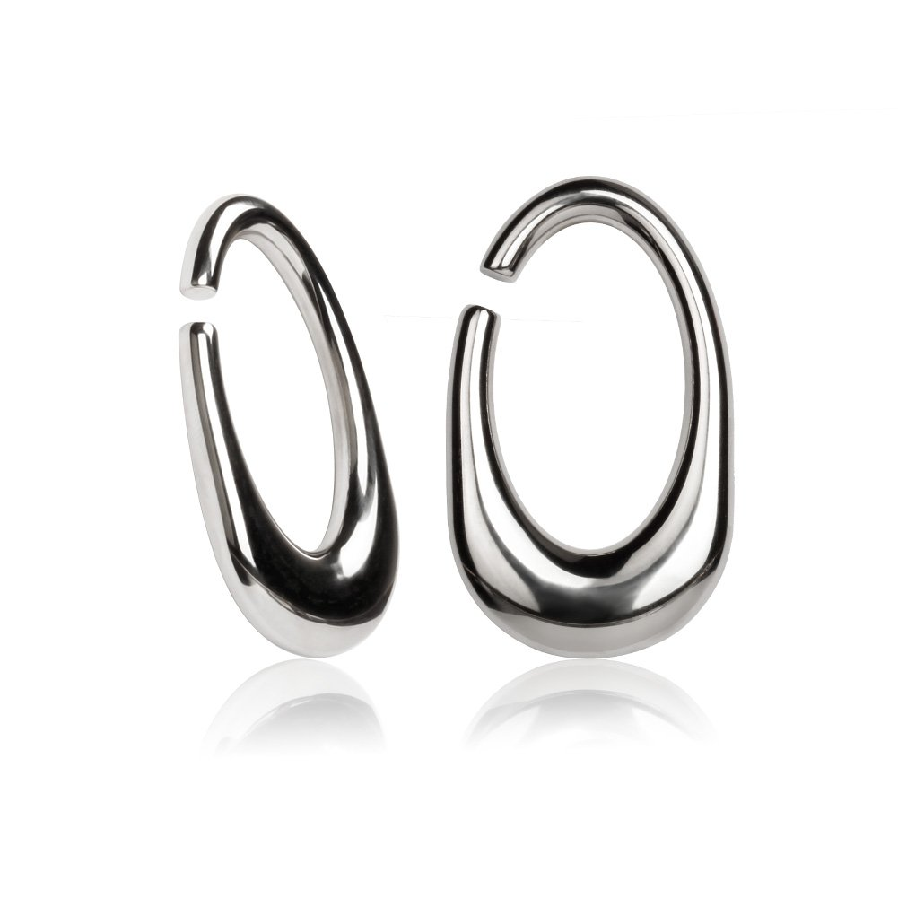 KUBOOZ Silver Stainless Steel Oval Ear Weights Tapers Stretched Hangers Heavy 6mm 2g by KUBOOZ