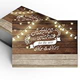 50 Rustic Wedding Advice Cards and Well Wishes for the Bride and Groom,Wedding Activity & Bridal Shower Games,Guest Book Alternative