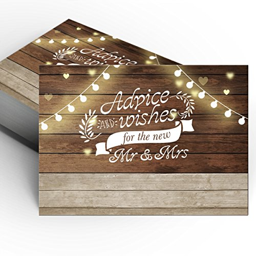 50 Rustic Wedding Advice Cards and Well Wishes for the Bride and Groom,Wedding Activity & Bridal Shower Games,Guest Book Alternative by Yuzi-n