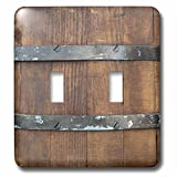 3dRose Alexis Photography - Texture Wood - Image of a wooden barrel, metal bands. Closeup view. Wooden texture - Light Switch Covers - double toggle switch (lsp_286653_2)