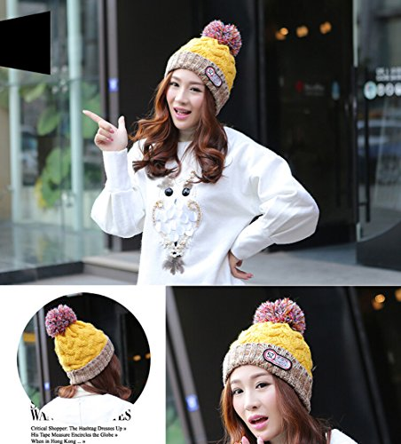 Trendy Women Girls Warm Chunky Soft Stretch Cable Knit Slouchy Winter Snow Hat (Yellow)