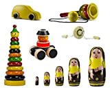 Ceejay Toys Colorful Wooden Toys With Wheels & Skills Toys - Set Of 6