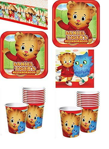 Daniel Tigers Neighborhood Party Supply Pack Kit Bundle - 16 Guests Dinner Plates, Cups, Napkins, Tablecover