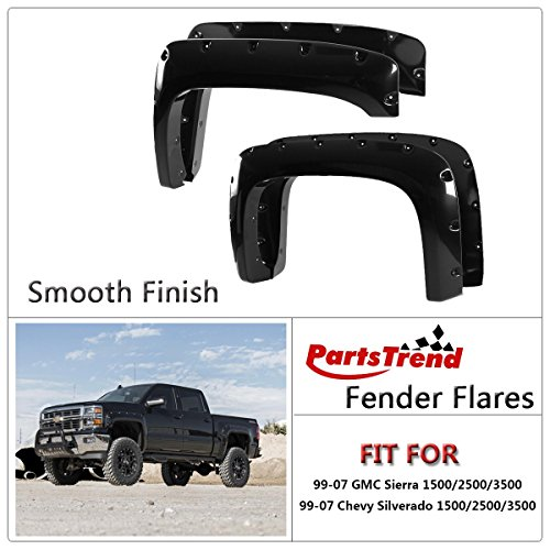 Partstrend 4pcs Black Smooth Finish Pocket Riveted Fender Flares Kit Wheel Cover Set Compatible With 1999 2000 2001 2002 2003 2004 2005 2006 2007 Chevy Silverado Gmc Sierra 1500 2500 3500