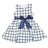 Itaar Cute Baby Toddler Girl Kids Cotton Top Bowknot Plaid Dress Outfit Clothes US Size 18-24 Months(Tag Size 100)White/Navy Stripe