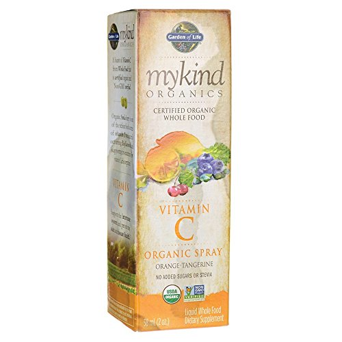 Garden of Life Vitamin C with Amla - mykind Organic Whole Food Supplement for Skin Health, Orange Tangerine Spray, 2oz Liquid