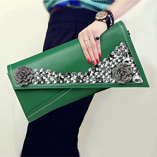Frauen Strass Blume Clutch Abendtasche Braut Tasche Clutch Bags Elegante Schultertasche Green