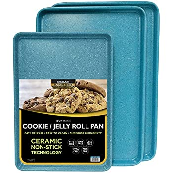 casaWare 3pc Ultimate Commercial Weight Cookie Sheet Set, Two 15 x 10-Inch Pans, One 13 x 9-Inch-Inch Pan (Blue Granite)