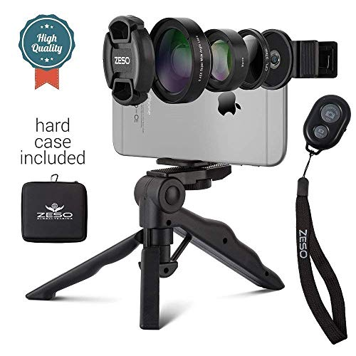 Camera Lens Kit by Coral Entertainments| Professional CPL, Macro & Wide Angle Lenses | Multi-use tripod & Selfie Remote Control | For iPhone, Samsung Galaxy, iPads Tablets | Hard Case & Universal Clip