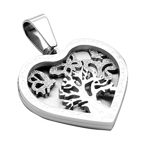Jusnova Stainless Steel Tree of Life Pendant Necklace for Women Girls with 22 Inches Chain Silver Color
