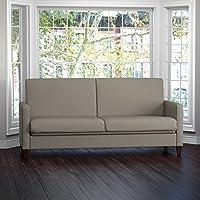 Handy Living Samuel Taupe Linen Convert-a-Couch Futon Sleeper Sofa