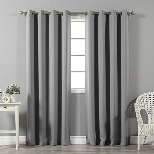 Best Home Fashion Thermal Insulated Blackout Curtains - Stainless steel nickel Grommet Top - Grey - 52