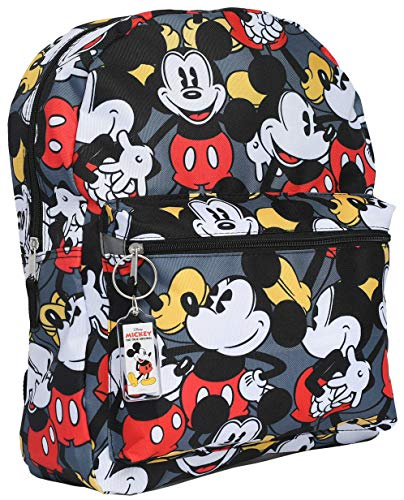 "Disney Mickey Mouse 16"" Backpack Bag AOP & Keychain - 2 Piece Set"