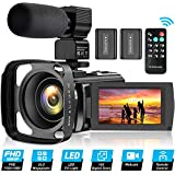 Video Camera Camcorder for YouTube, FHD 1080P 30FPS 24MP Digital Vlogging Camera 16X Digital Zoom 3.0 Inch 270° Rotation Screen Video Recorder with Lens Hood, Microphone, Remote Control, 2 Batteries