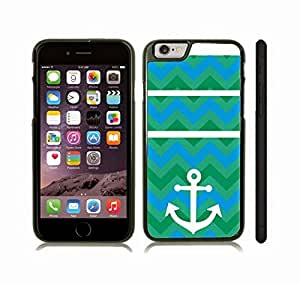 iStar Cases? iPhone 6 Case with Chevron Pattern Green Variety/ Blue Stripes W/ White Anchor , Snap-on Cover, Hard Carrying Case (Black)
