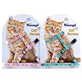 Niteangel 2-Pack of Adjustable Cat Harness & Leash (Pink & Green)