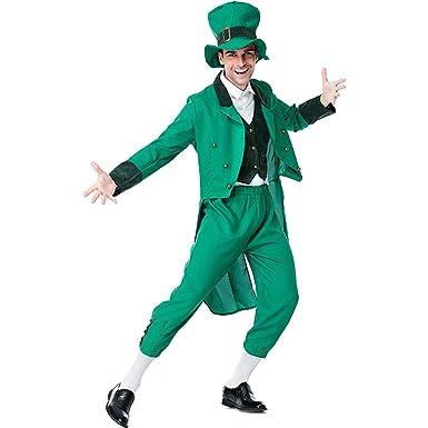 e14792adf5e01b AIKSSOO 4Pcs Adult St. Patrick's Day Gold Green Leprechaun Costume Set Dress  Suit Size F