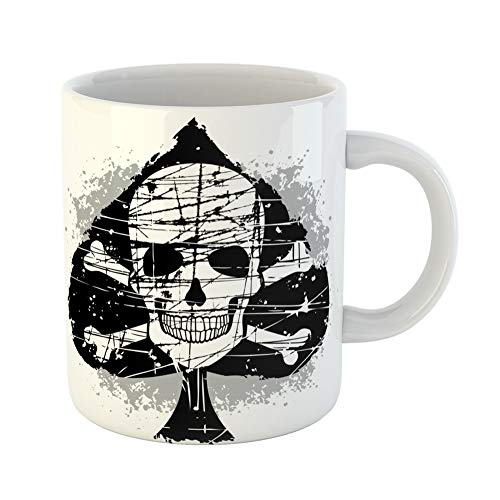 Emvency Coffee Tea Mug Gift 11 Ounces Funny Ceramic Vintage Ace of Spades Skull Cross Poker Angel Gifts For Family Friends Coworkers Boss Mug