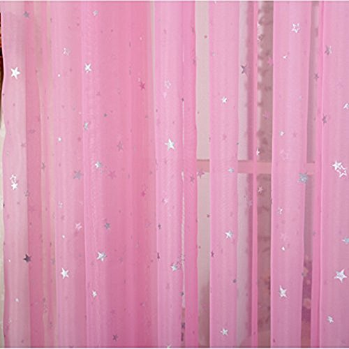AiFish 2 Pieces Sheer Window Panel Curtains Short Voile Curtains Shiny Star Pattern Window Drape Panels Rod Pocket Tulle Gauze Curtais for Patio/Villa/Parlor/Salon 1 Pair Hot Pink W39 x L47 - Of 78 Glasses 2 Pairs For