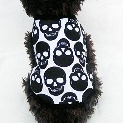 [Dreaman Pet Puppy Small Dog Cat Pet Clothes Skull Vest T-Shirt Apparel Clothes (S)] (Elvis Costumes For Dogs)