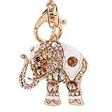 Osye Gold-tone Bling Crystal Animals Featured Thailand Elephant Keychain Key Chain Super Cute Purse Handbag Charm Gift (Champagne)