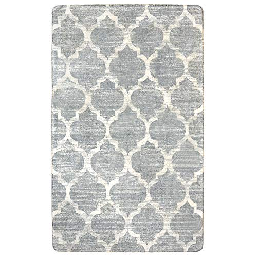 Lahome Moroccan Area Rug -3 X 5 Faux Wool Non-Slip Area Rug Accent Distressed Throw Rugs Floor Carpet for Living Room Bedrooms Laundry Room Decor 3 X 5 , Gray