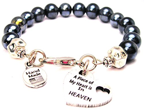 Chubby Chico Charms Hematite Glass a Piece of My Heart is in Heaven Bracelet