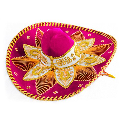 Hot Pink and Gold Mariachi Sombrero by Unknown (Felt Sombrero)
