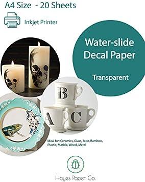 Hayes Paper Co. Papel de Calcomanía transparente para transfer de Agua, solo con impresoras INKJET, 20 hojas de tamaño A4.: Amazon.es: Oficina y papelería